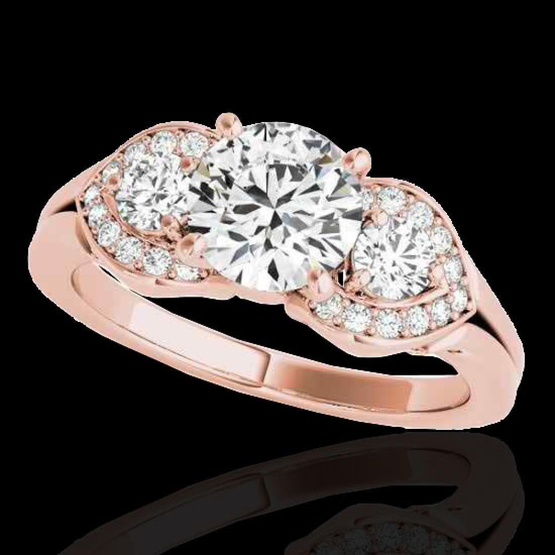 1.45 CTW H-SI/I Certified Diamond 3 Stone Ring 10K Rose