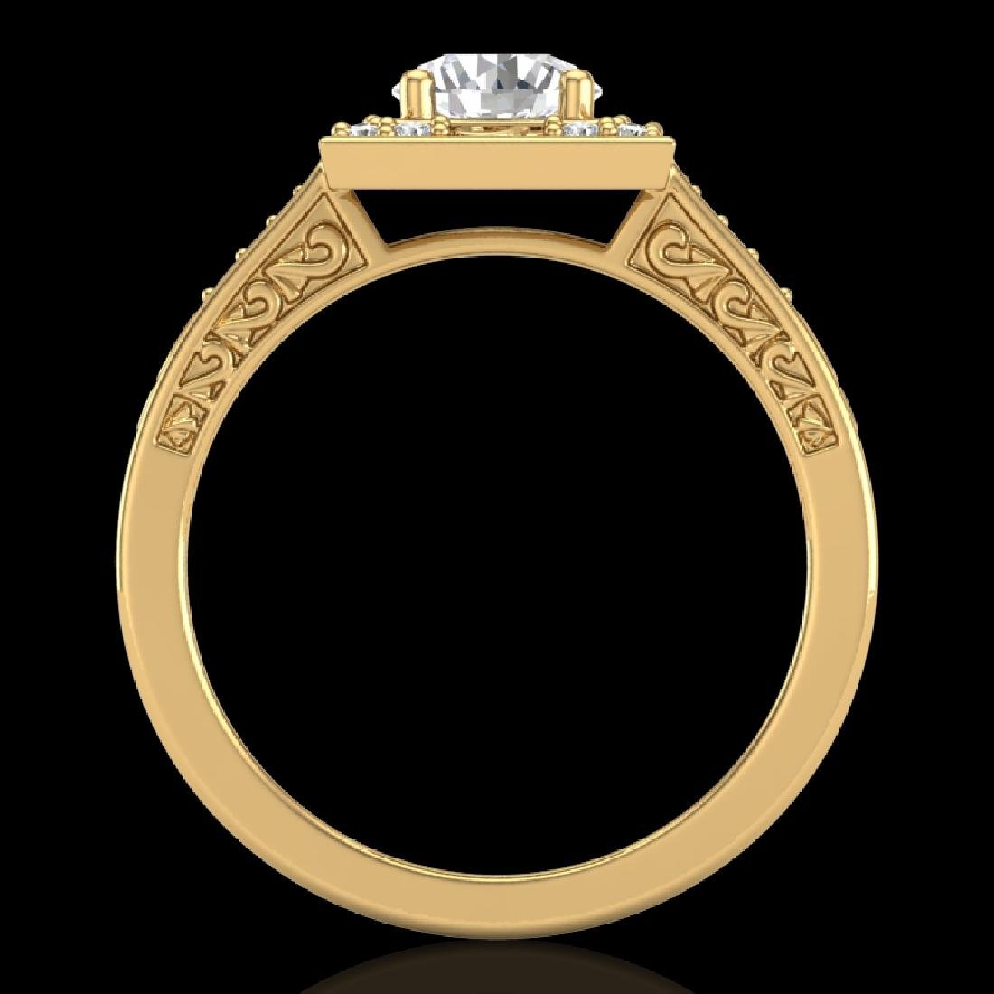 1.1 CTW VS/SI Diamond Art Deco Ring 18K Yellow Gold