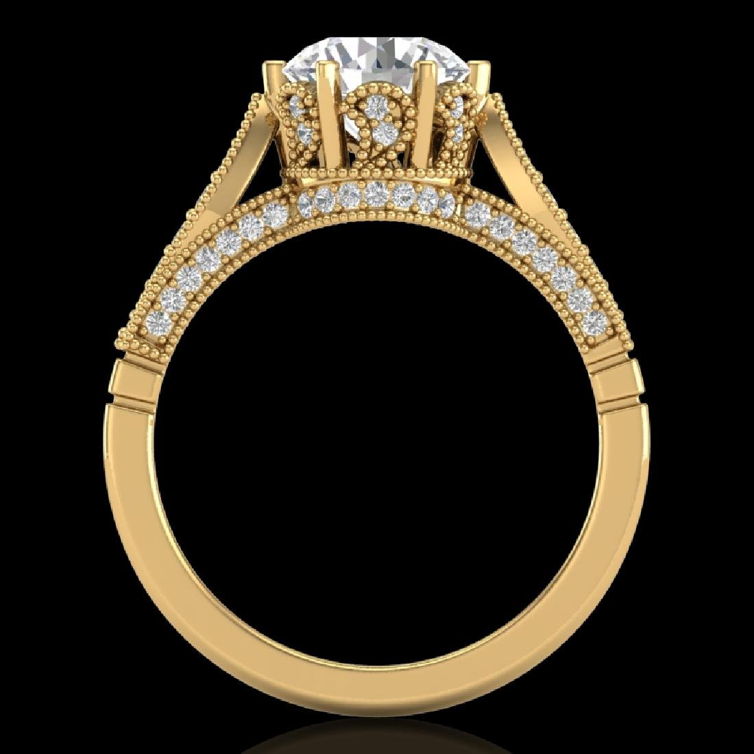 2.2 CTW VS/SI Diamond Art Deco Ring 18K Yellow Gold