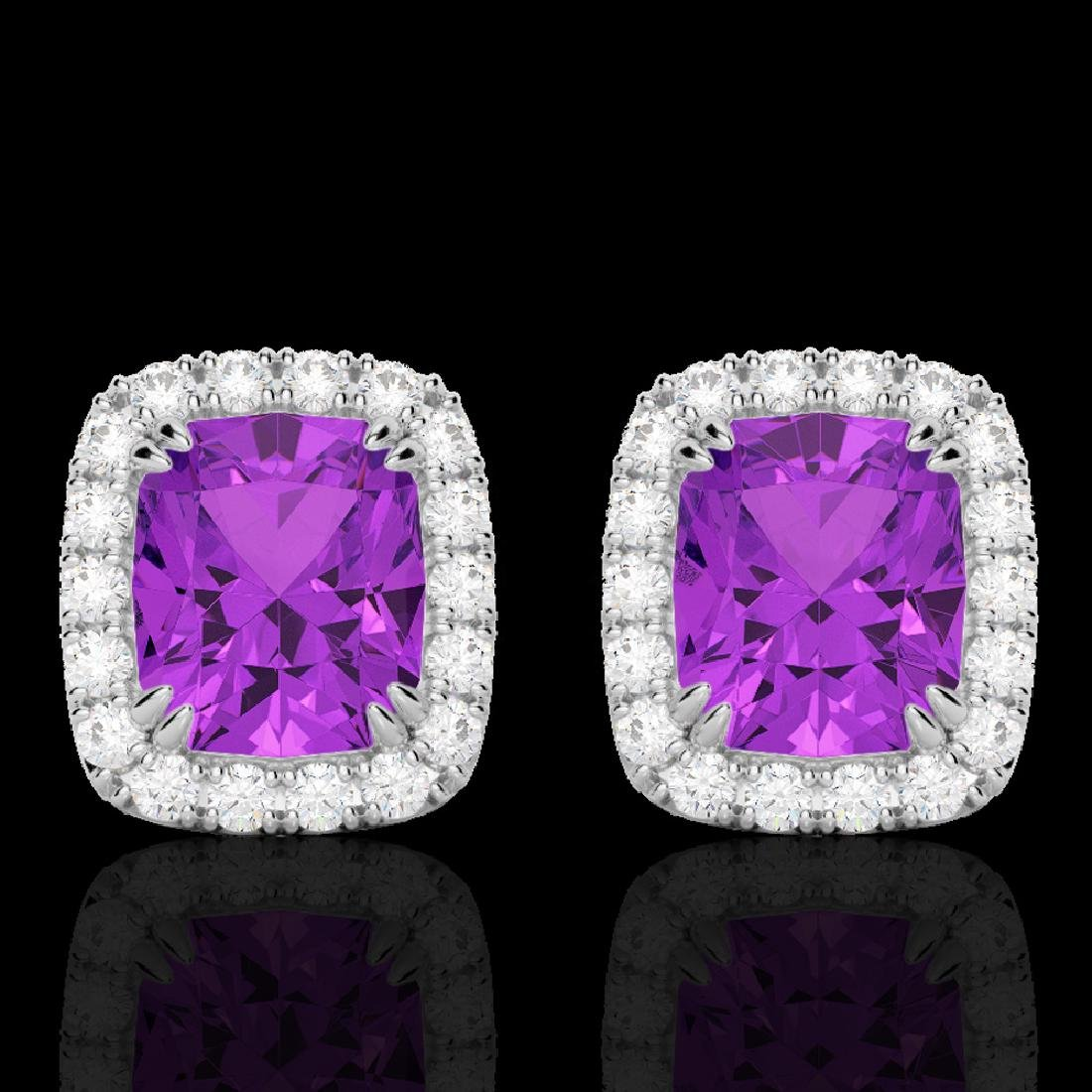 2.50 CTW Amethyst & Micro Pave VS/SI Diamond Halo
