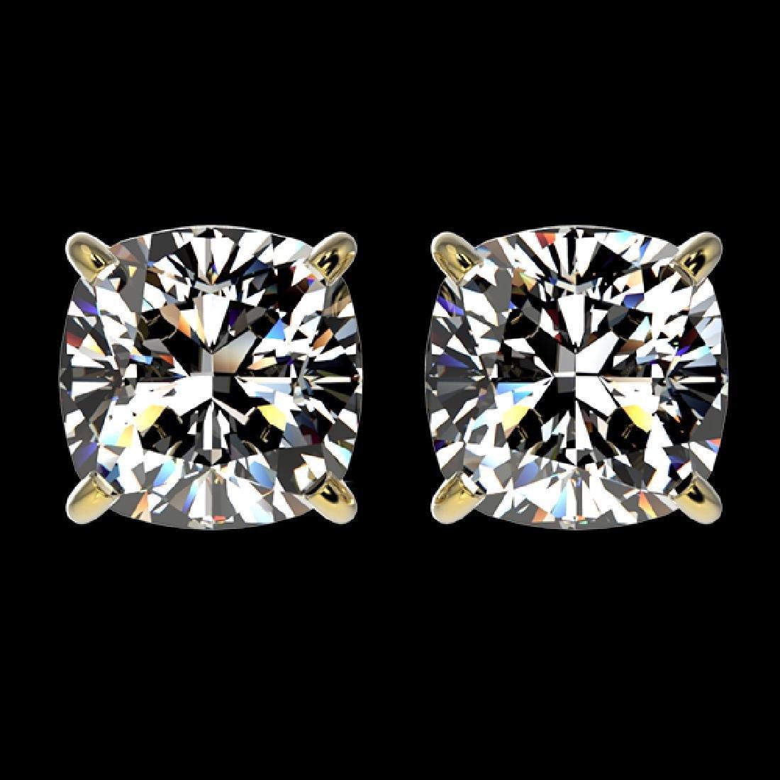 2 CTW Certified VS/SI Quality Cushion Cut Diamond Stud