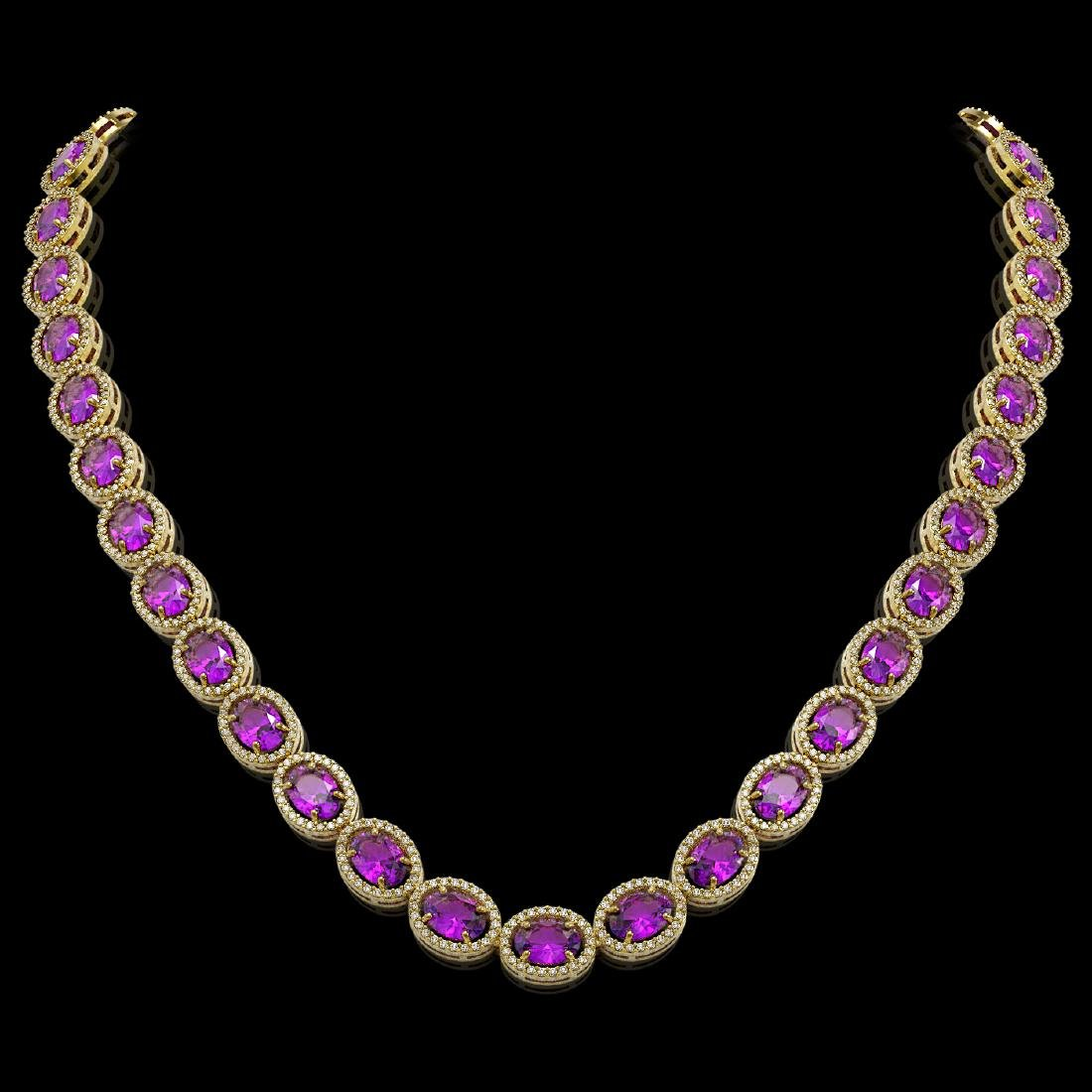 45.16 CTW Amethyst & Diamond Halo Necklace 10K Yellow