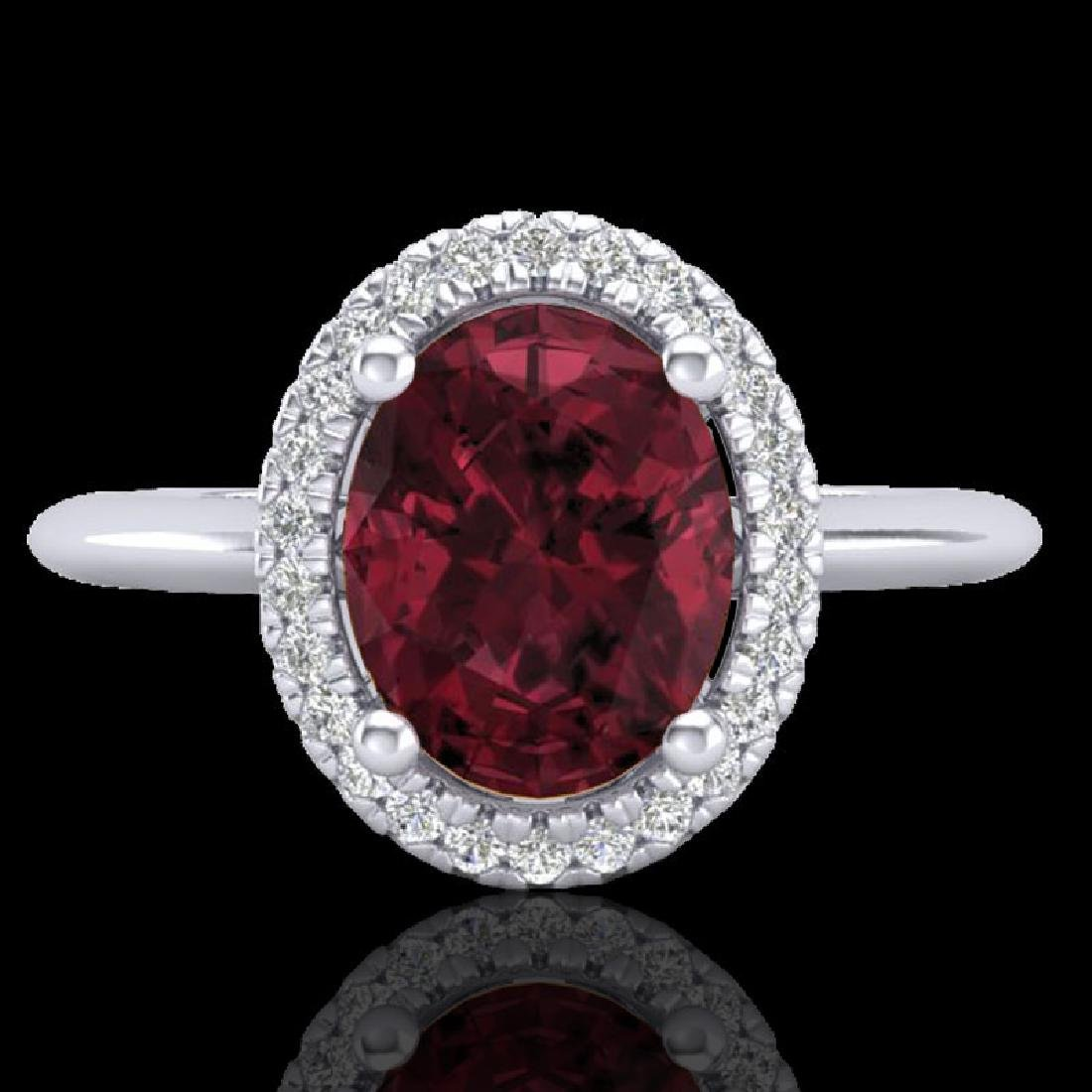1.75 CTW Garnet & Micro Pave VS/SI Diamond Ring