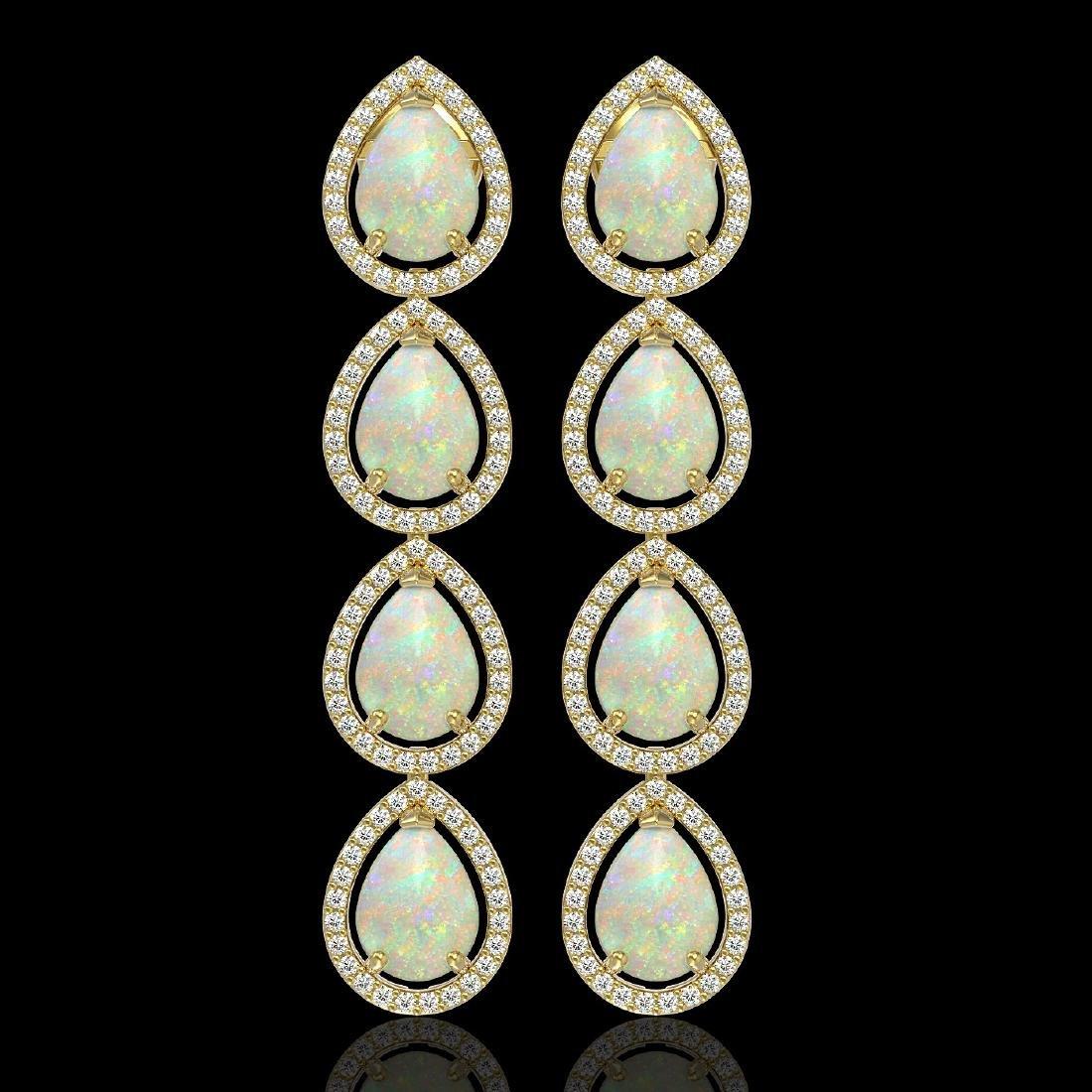 9.12 CTW Opal & Diamond Halo Earrings 10K Yellow Gold