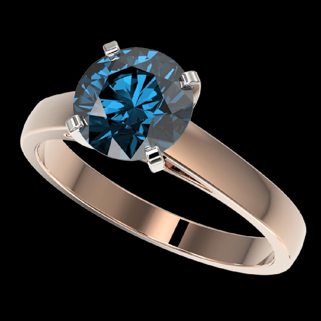 2.04 CTW Certified Intense Blue SI Diamond Solitaire