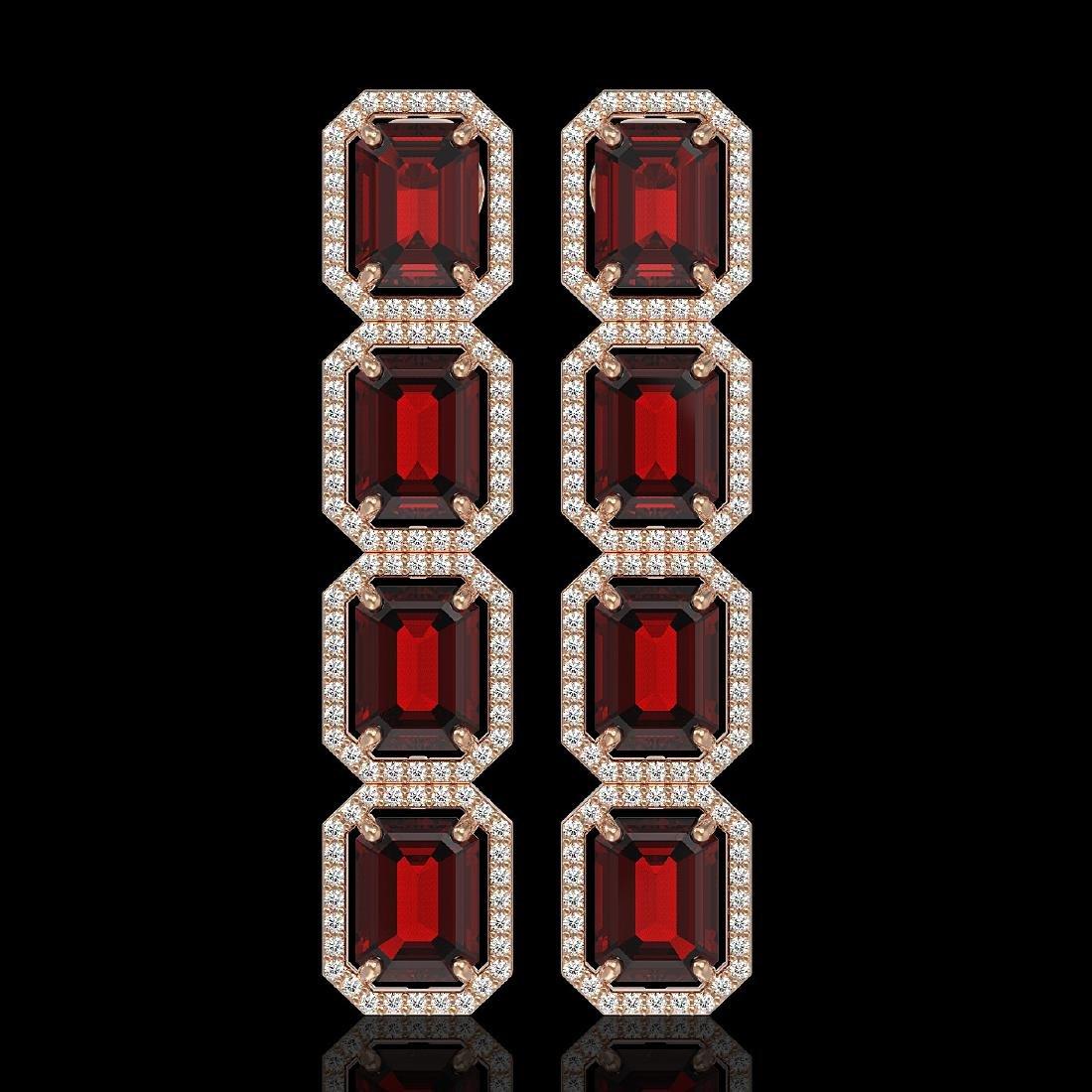 17.8 CTW Garnet & Diamond Halo Earrings 10K Rose Gold