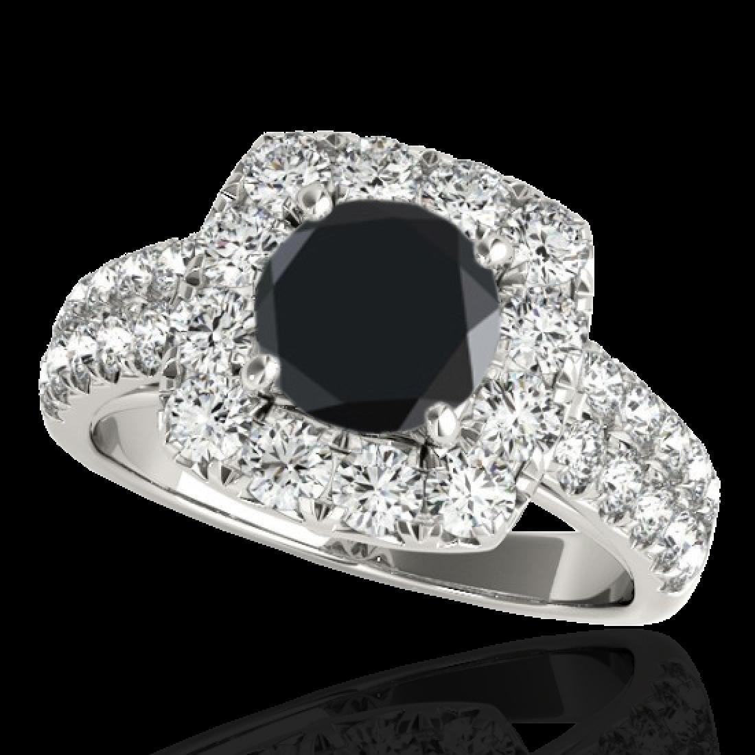 2.5 CTW Certified VS Black Diamond Solitaire Halo Ring