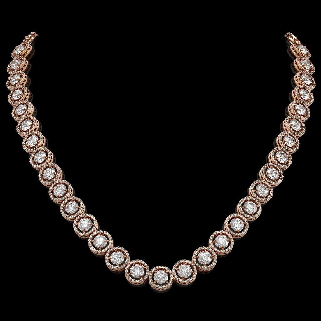 30.78 CTW Diamond Designer Necklace 18K Rose Gold