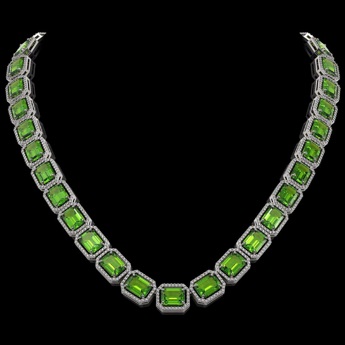 73.41 CTW Peridot & Diamond Halo Necklace 10K White