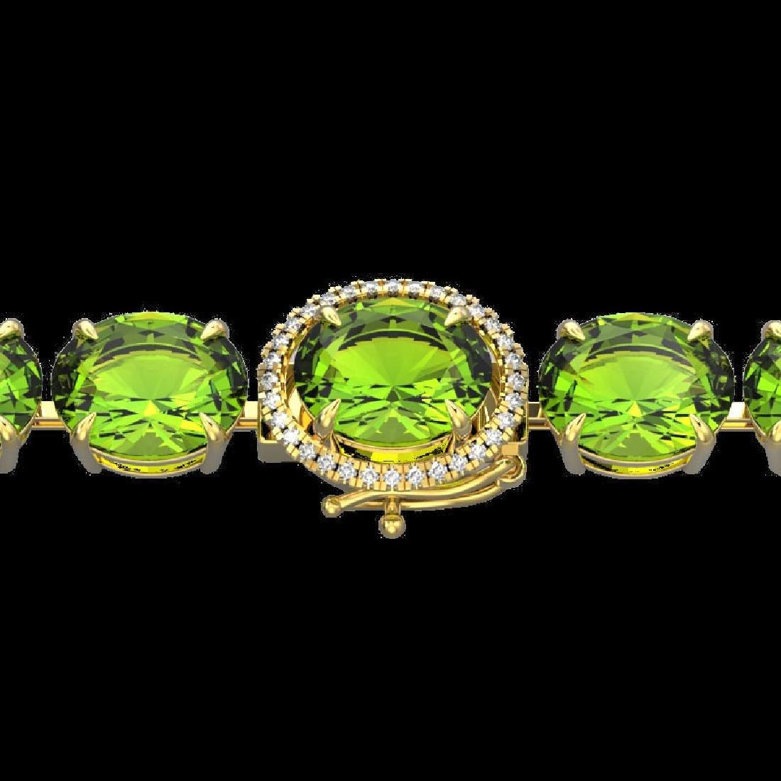 67 CTW Peridot & Micro Pave VS/SI Diamond Halo Bracelet
