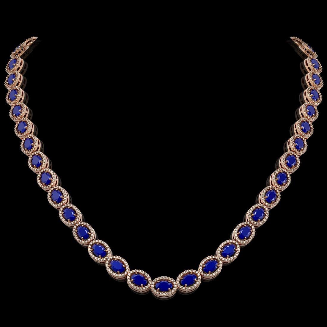 34.11 CTW Sapphire & Diamond Halo Necklace 10K Rose