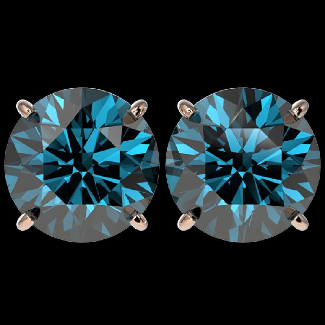 5 CTW Certified Intense Blue SI Diamond Solitaire Stud