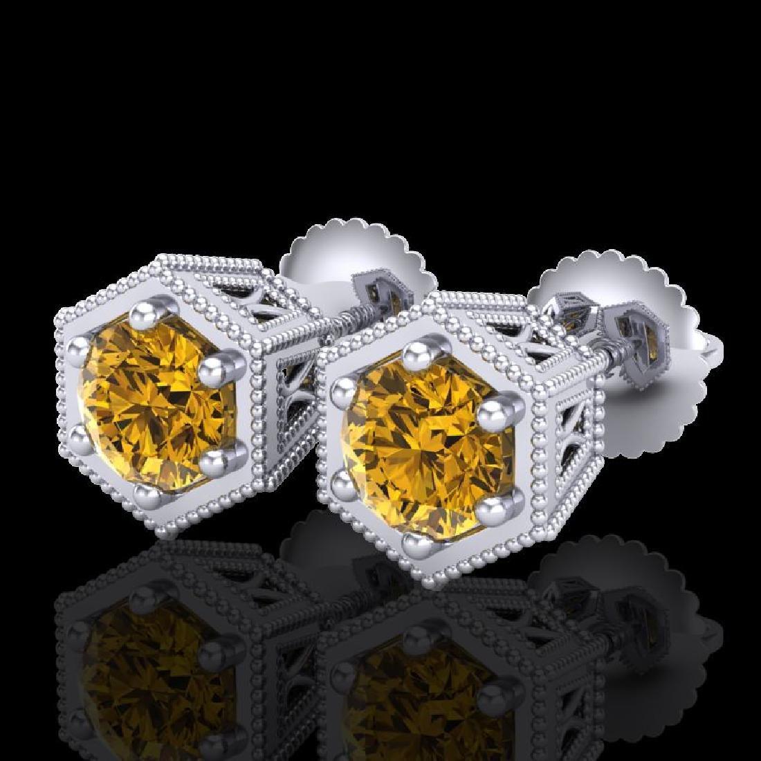 1.15 CTW Intense Fancy Yellow Diamond Art Deco Stud