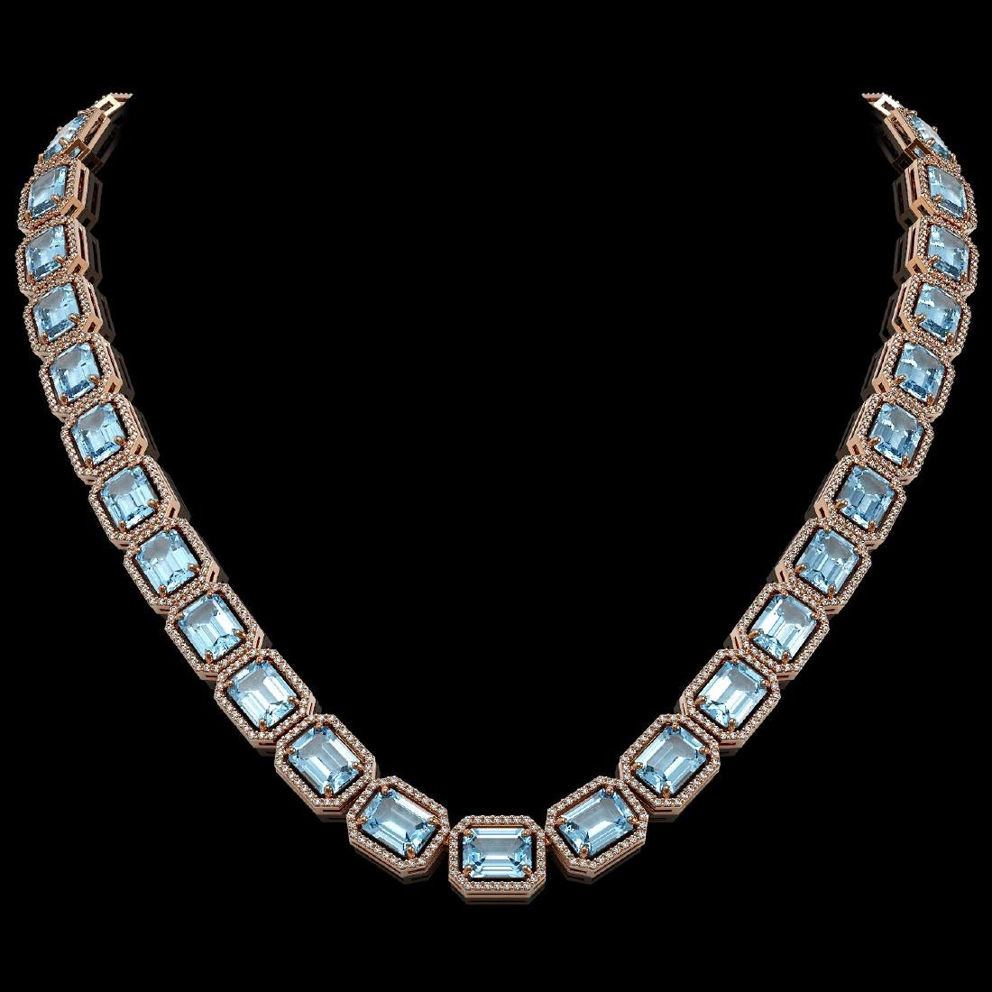 80.98 CTW Aquamarine & Diamond Halo Necklace 10K Rose
