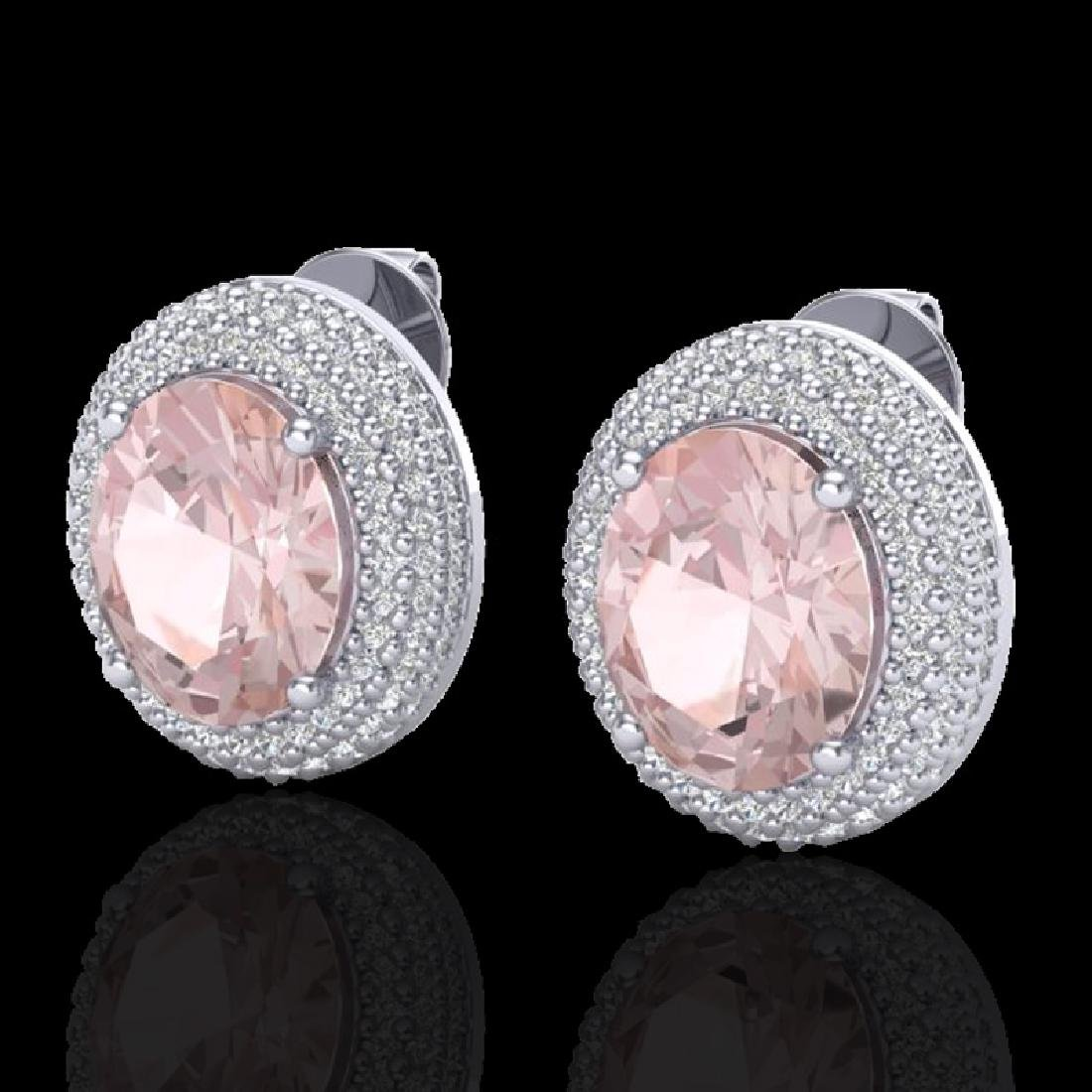 9 CTW Morganite & Micro Pave VS/SI Diamond Earrings 18K