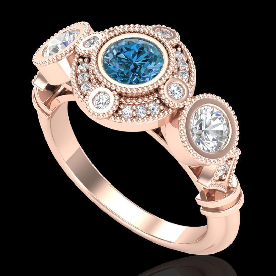 1.51 CTW Intense Blue Diamond Solitaire Art Deco 3