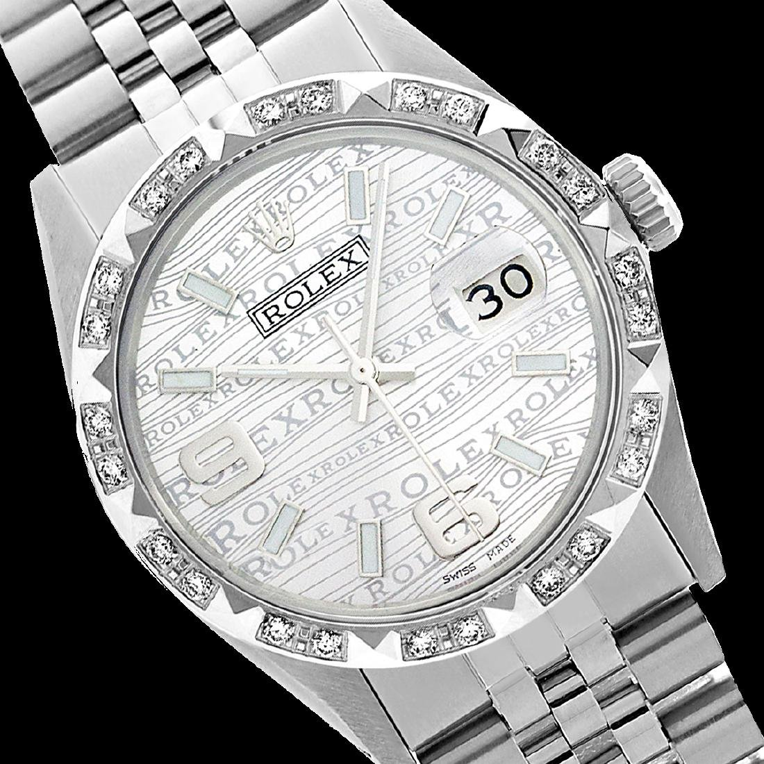 Rolex Men's Stainless Steel, QuickSet, Arabic Dial with