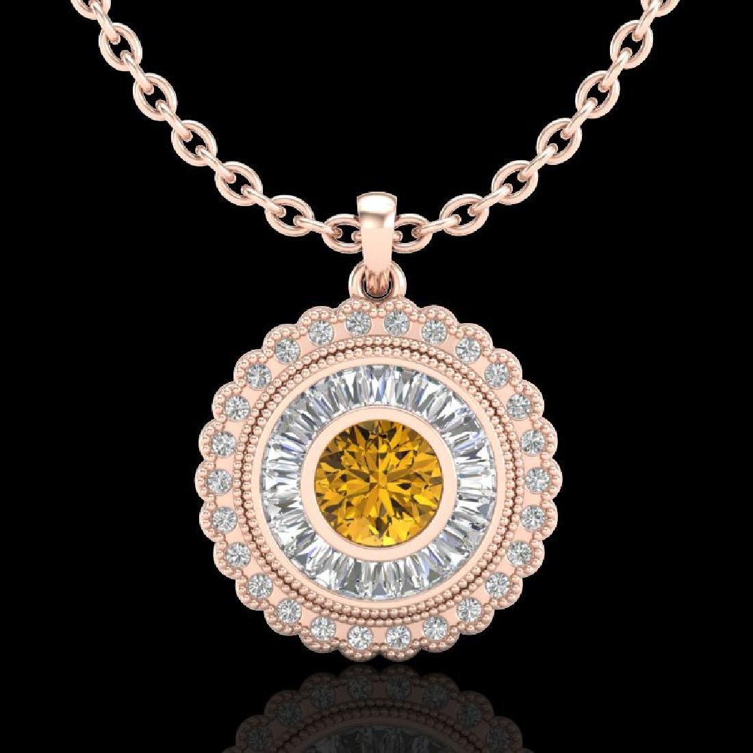 2.11 CTW Intense Fancy Yellow Diamond Art Deco Stud