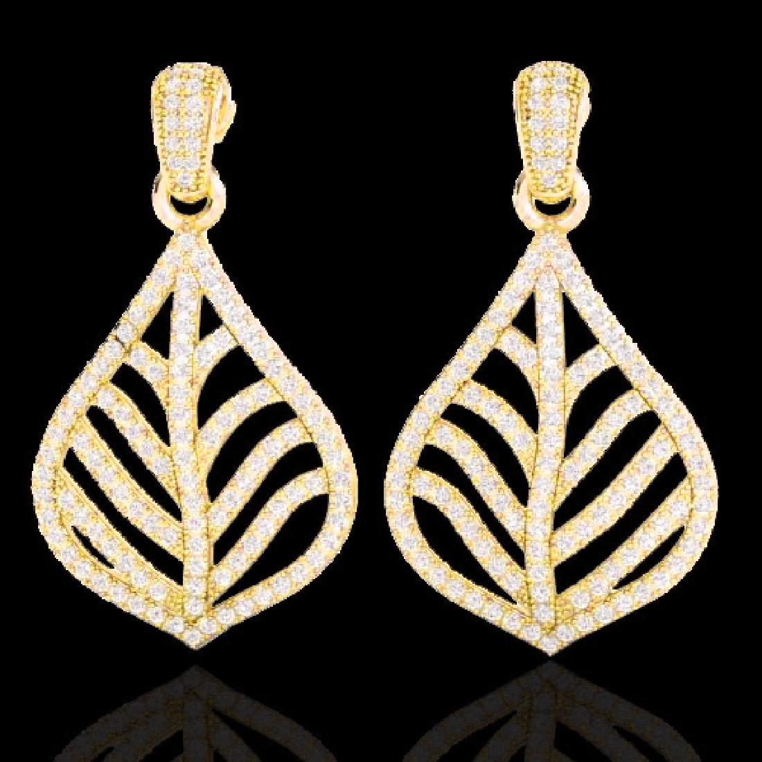 2.50 CTW Micro Pave VS/SI Diamond Earrings Designer 18K