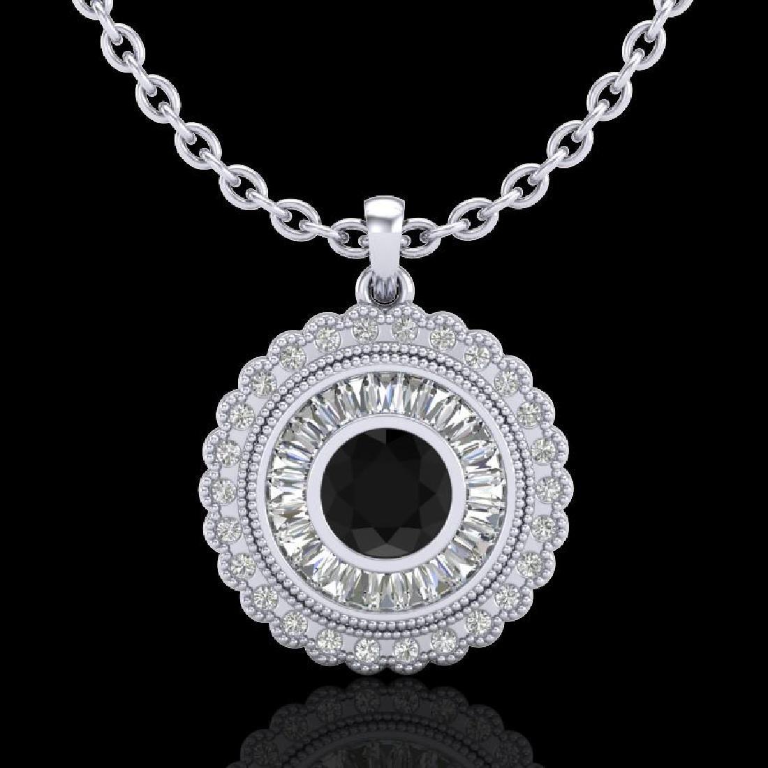 2.11 CTW Fancy Black Diamond Solitaire Art Deco Stud