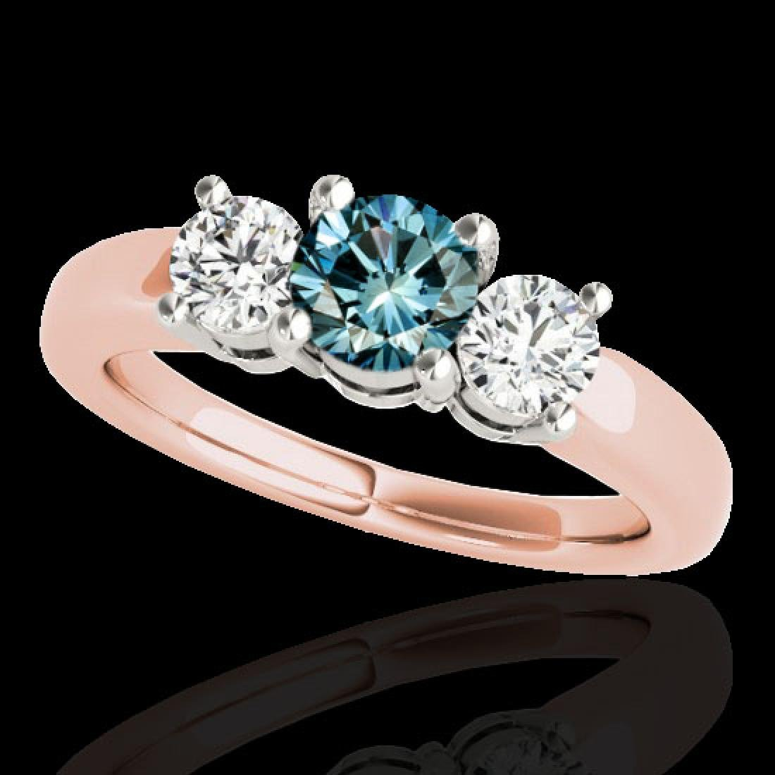 2 CTW SI Certified Fancy Blue Diamond 3 Stone Solitaire