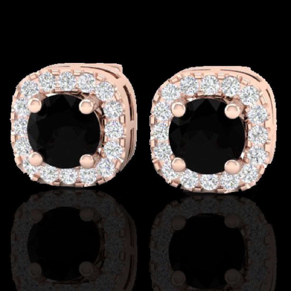 0.90 CTW Micro Pave Black & VS/SI Diamond Earrings