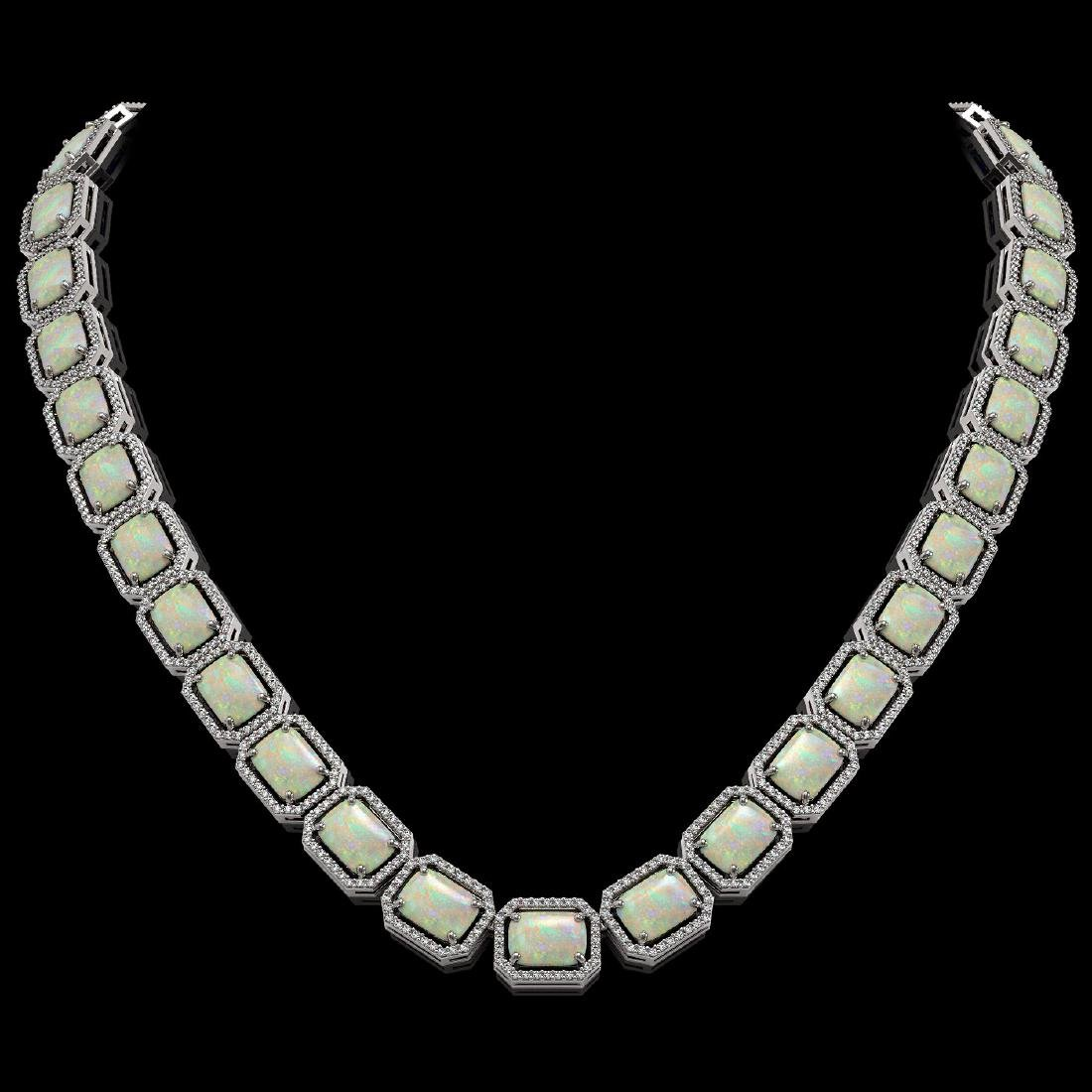 53.59 CTW Opal & Diamond Halo Necklace 10K White Gold