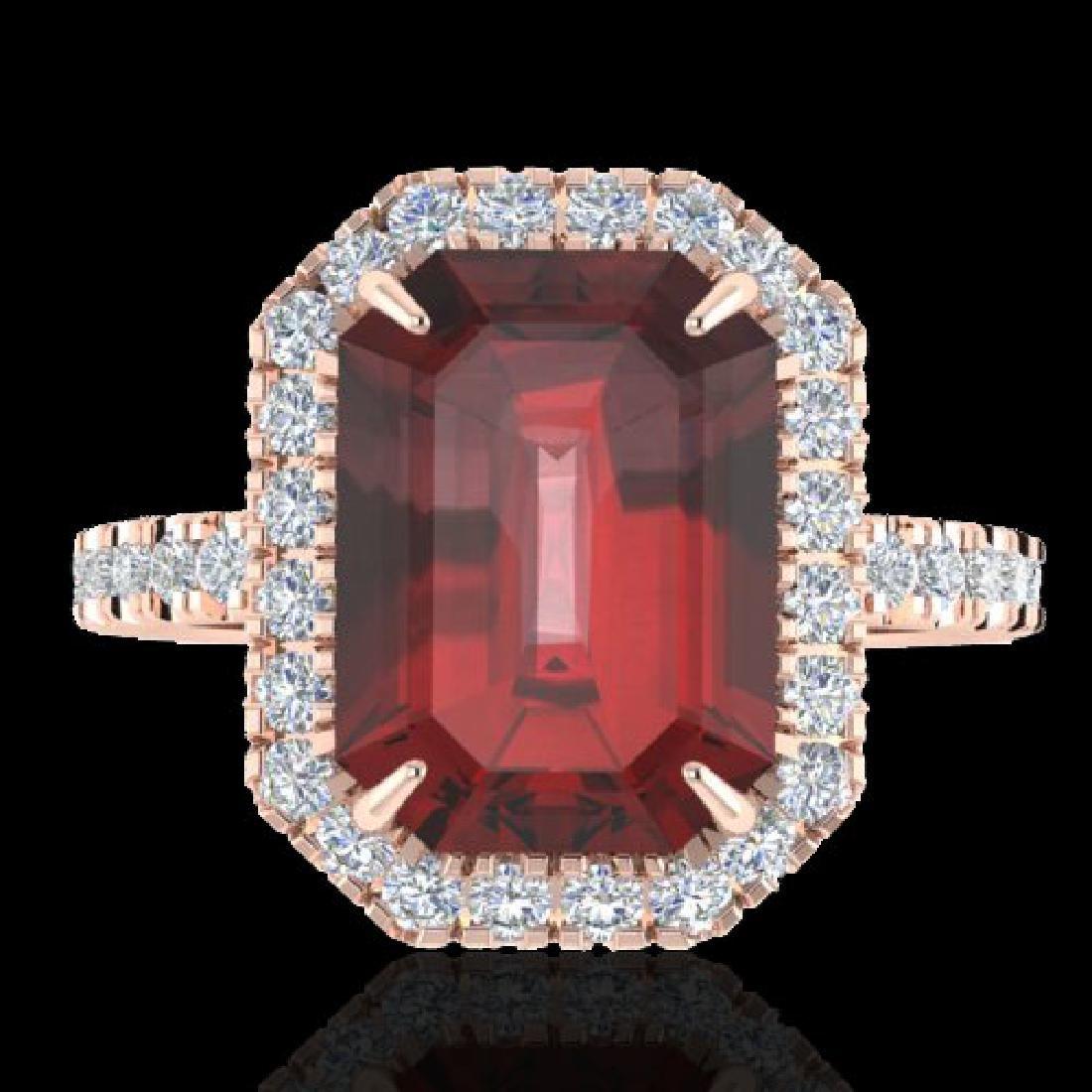 6.03 CTW Garnet And Micro Pave VS/SI Diamond Halo Ring