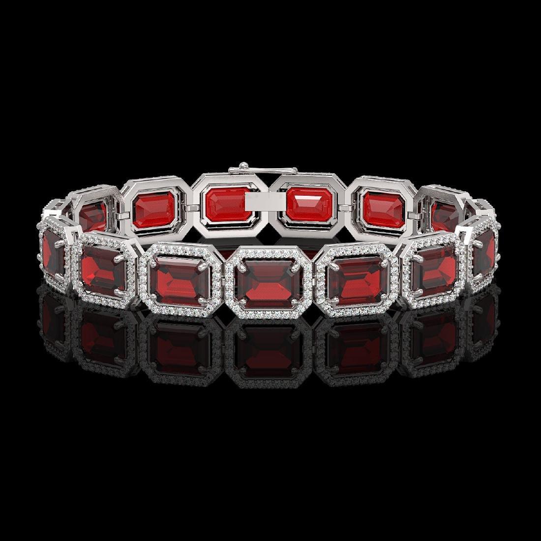 33.41 CTW Garnet & Diamond Halo Bracelet 10K White Gold