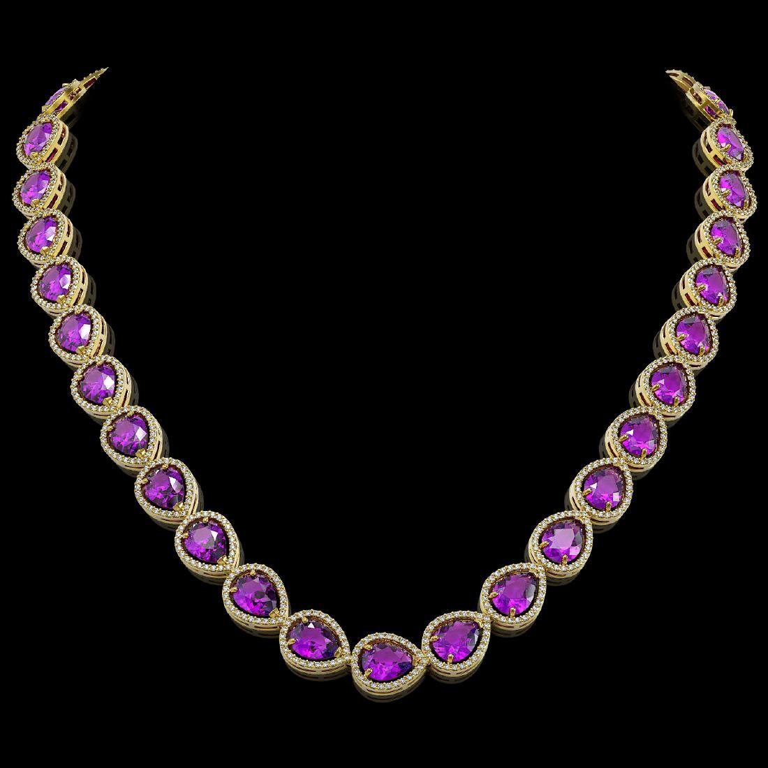 43.2 CTW Amethyst & Diamond Halo Necklace 10K Yellow