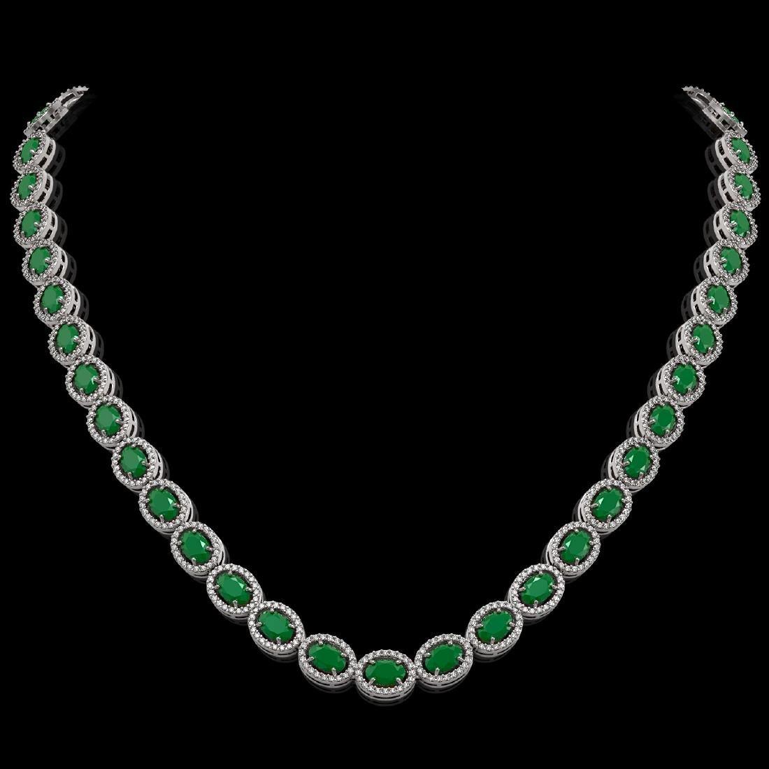 34.11 CTW Emerald & Diamond Halo Necklace 10K White