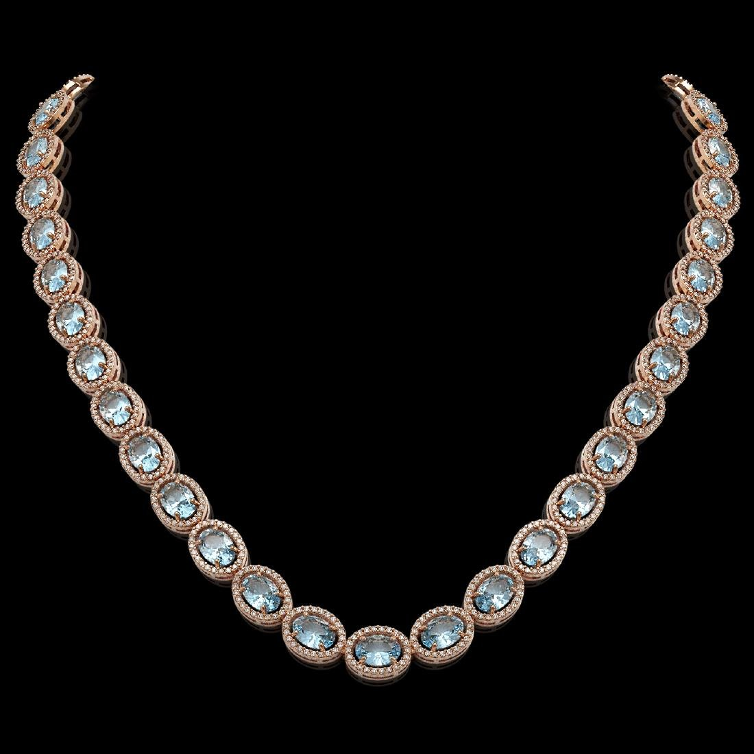 41.88 CTW Aquamarine & Diamond Halo Necklace 10K Rose