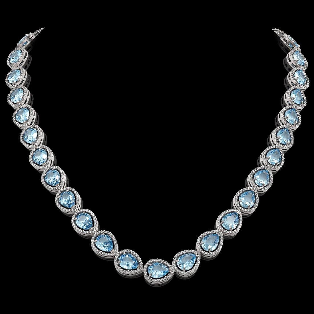 41.6 CTW Aquamarine & Diamond Halo Necklace 10K White