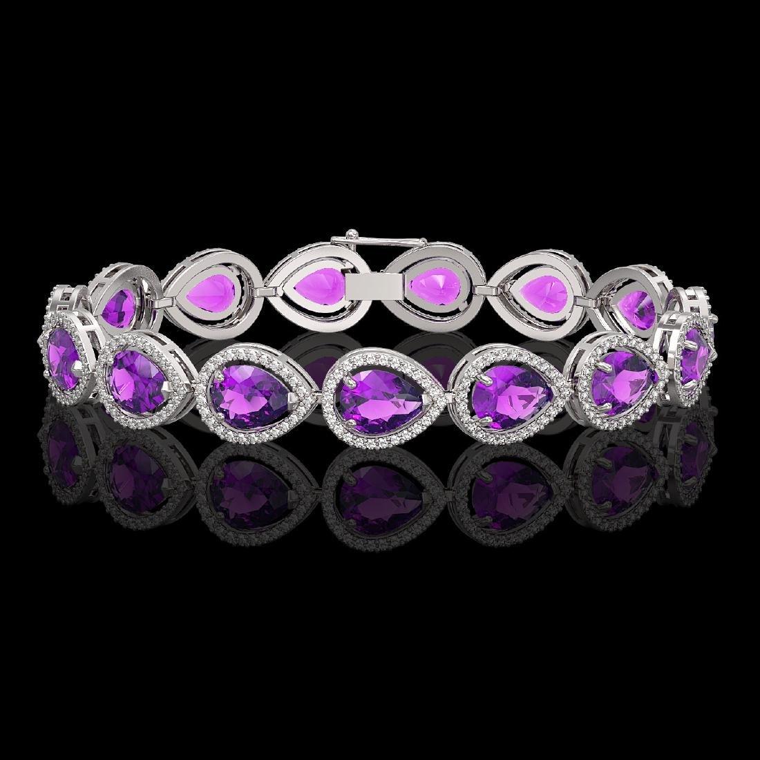20.3 CTW Amethyst & Diamond Halo Bracelet 10K White