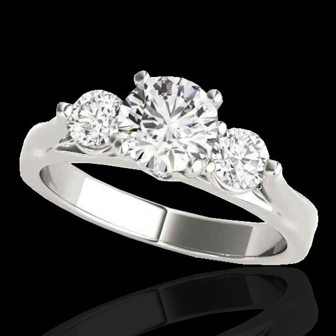 1.5 CTW H-SI/I Certified Diamond 3 Stone Ring 10K White