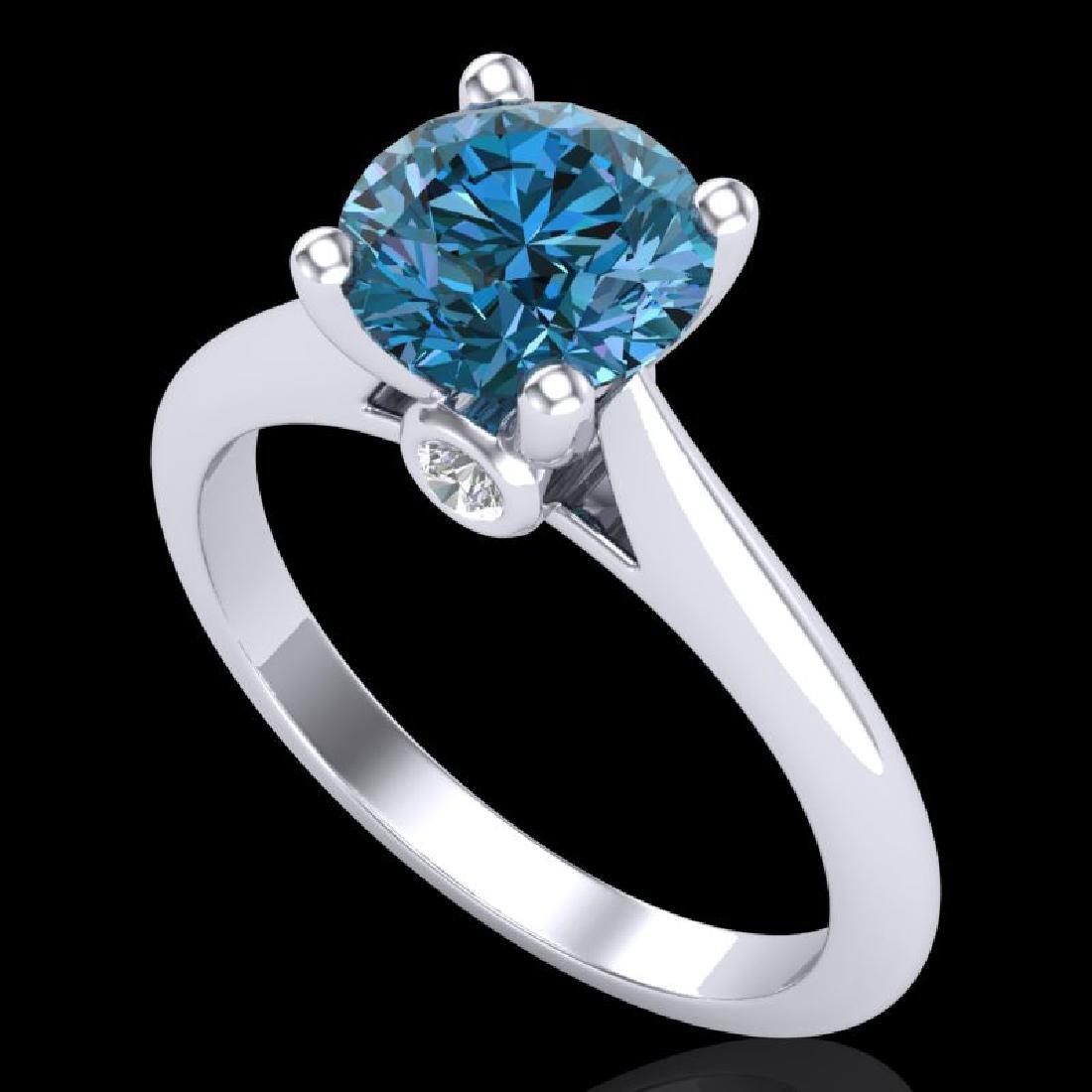 1.6 CTW Intense Blue Diamond Solitaire Engagement Art