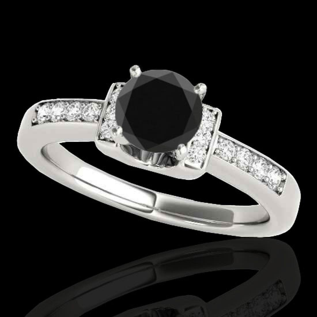 1.11 CTW Certified VS Black Diamond Solitaire Ring 10K