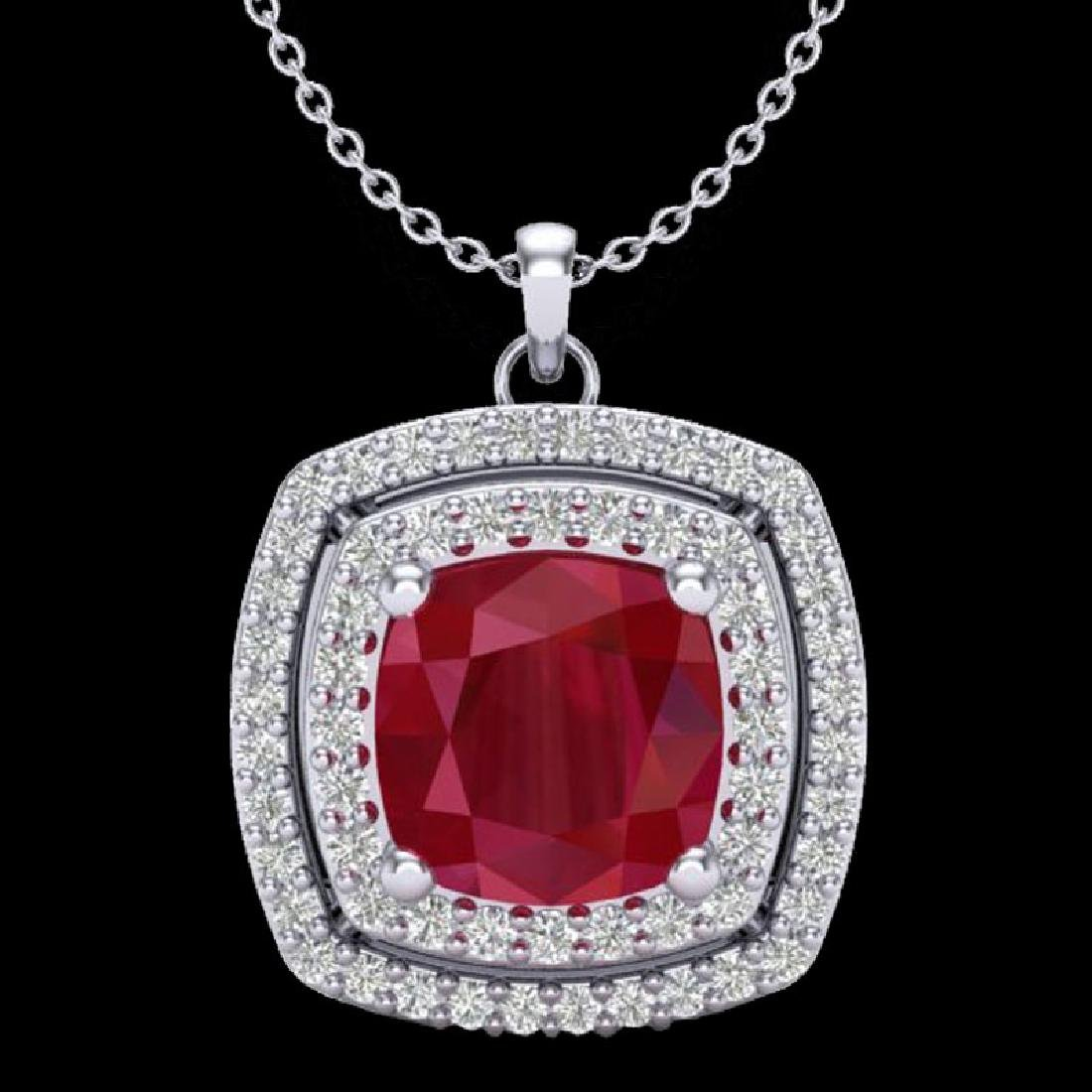 2.52 CTW Ruby & Micro Pave VS/SI Diamond Halo Necklace