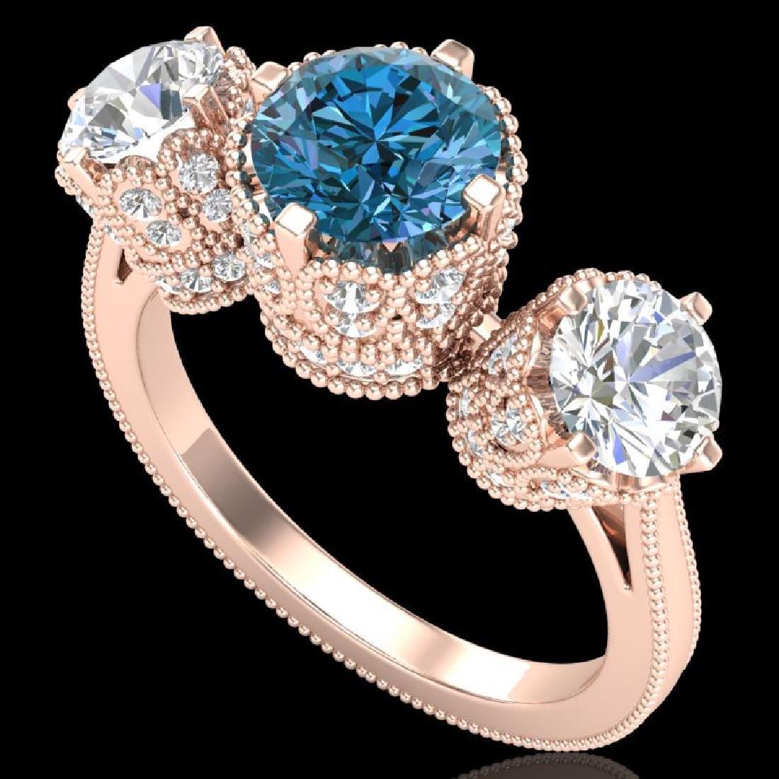 3.06 CTW Fancy Intense Blue Diamond Art Deco 3 Stone