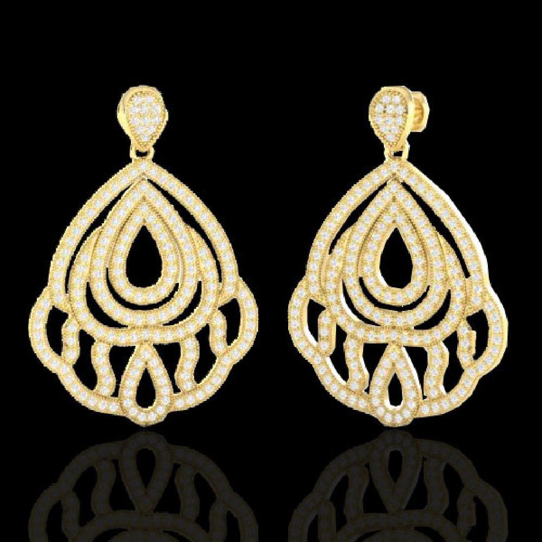 3 CTW Micro Pave VS/SI Diamond Earrings Designer 18K