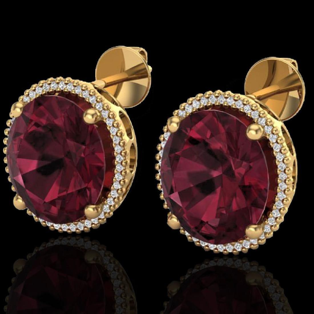 20 CTW Garnet & Micro Pave VS/SI Diamond Halo Earrings