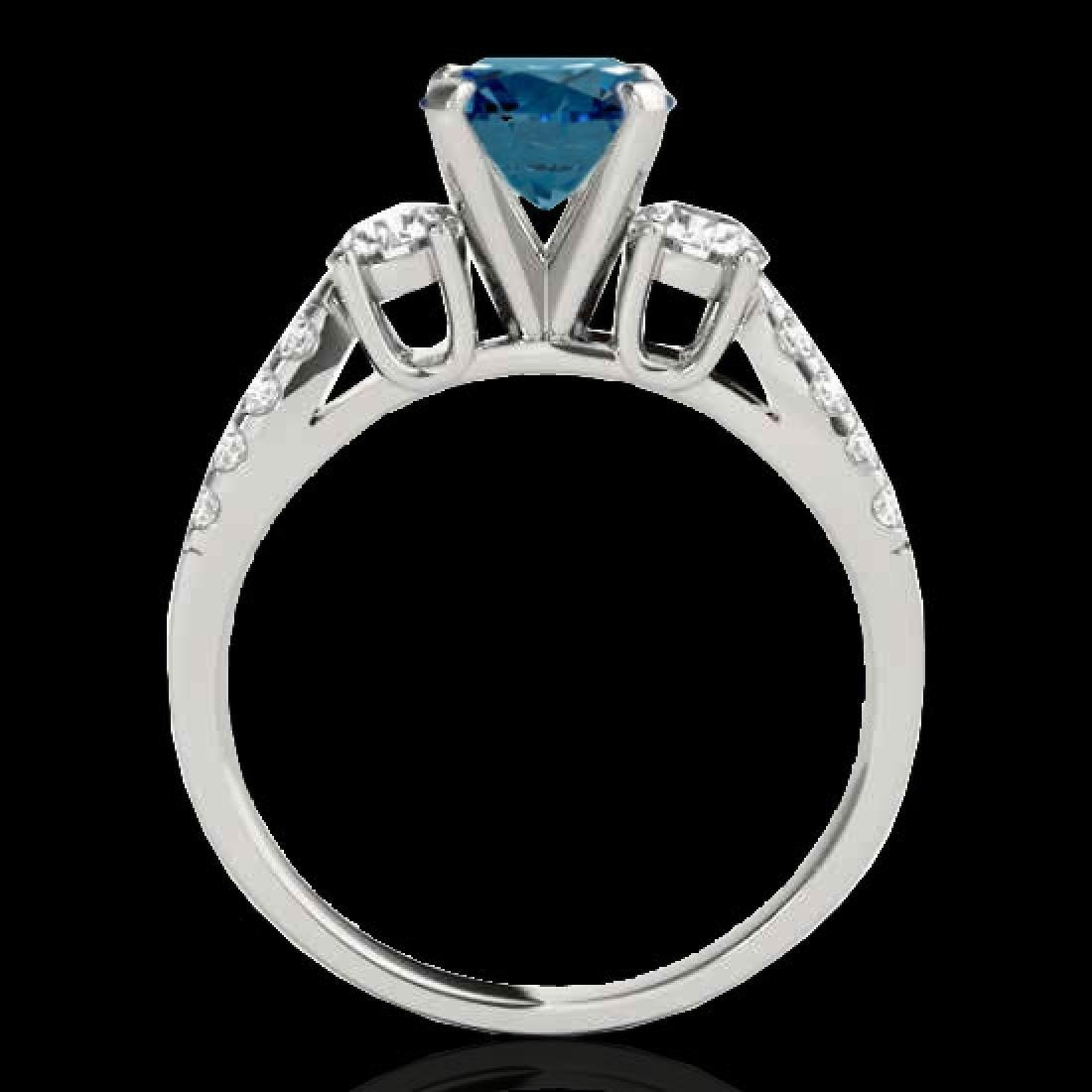 1.5 CTW SI Certified Fancy Blue Diamond 3 Stone Ring - 2