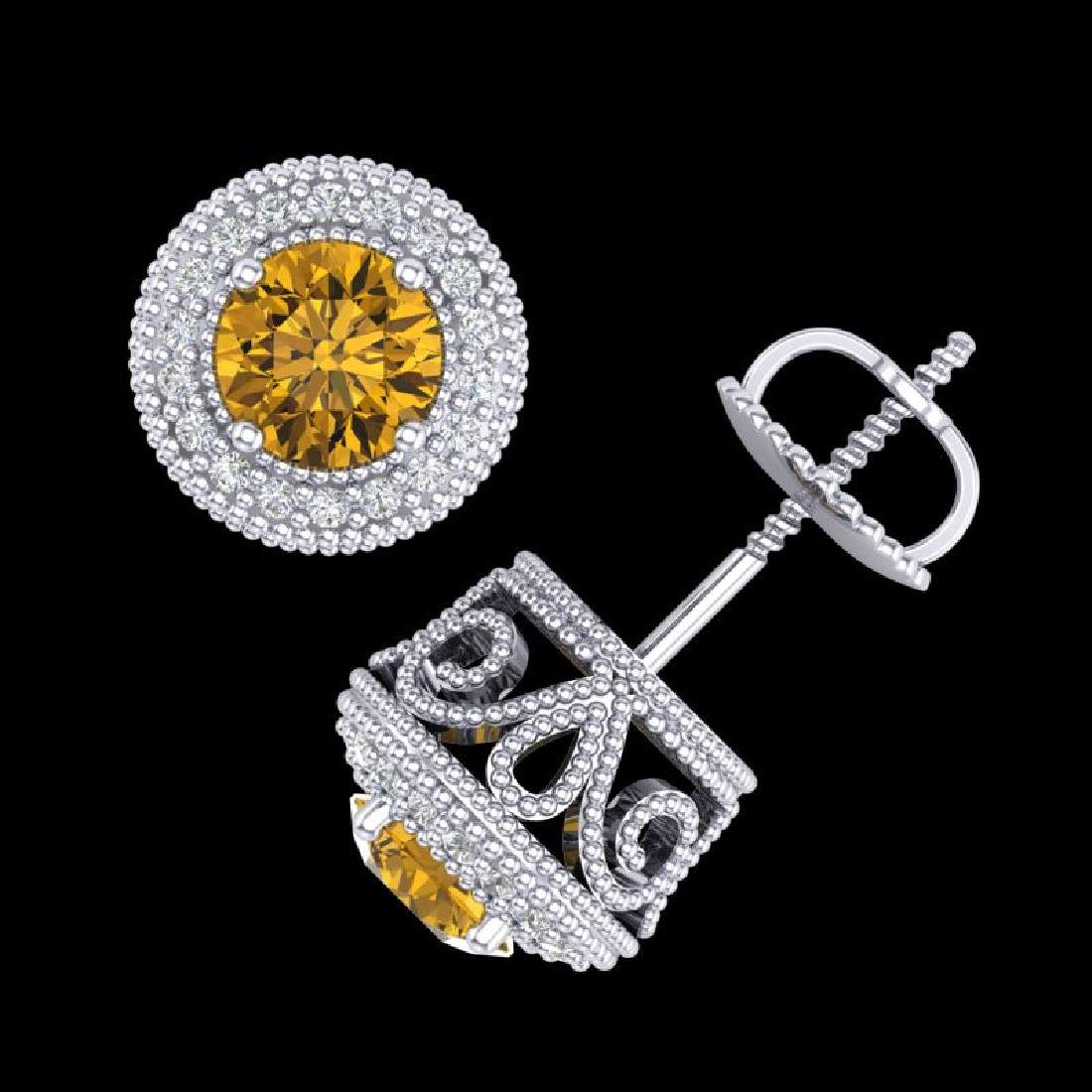 1.55 CTW Intense Fancy Yellow Diamond Art Deco Stud - 3