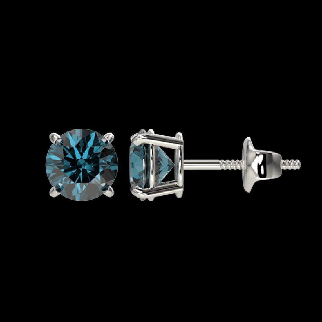 1 CTW Certified Intense Blue SI Diamond Solitaire Stud - 2