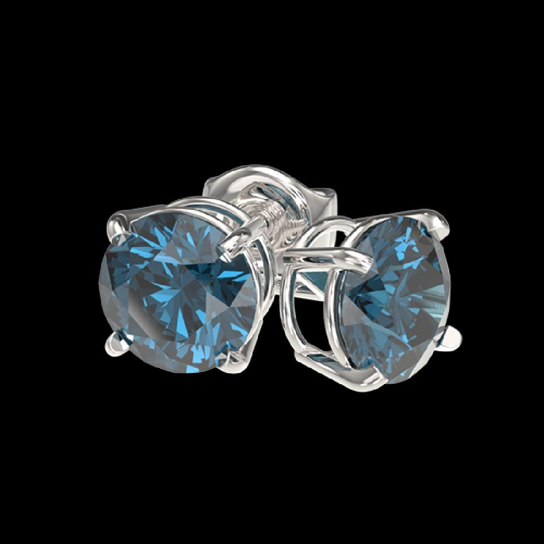 1 CTW Certified Intense Blue SI Diamond Solitaire Stud - 3