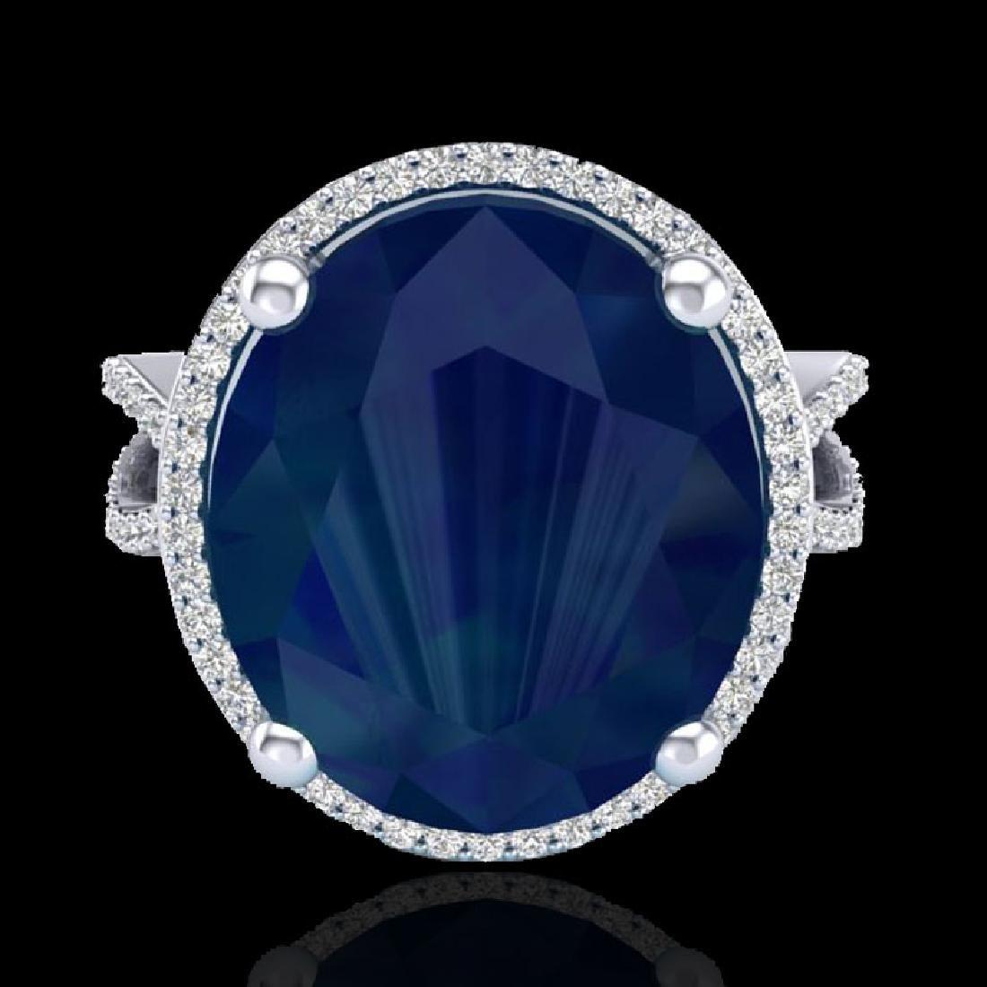 12 CTW Sapphire & Micro Pave VS/SI Diamond Halo Ring