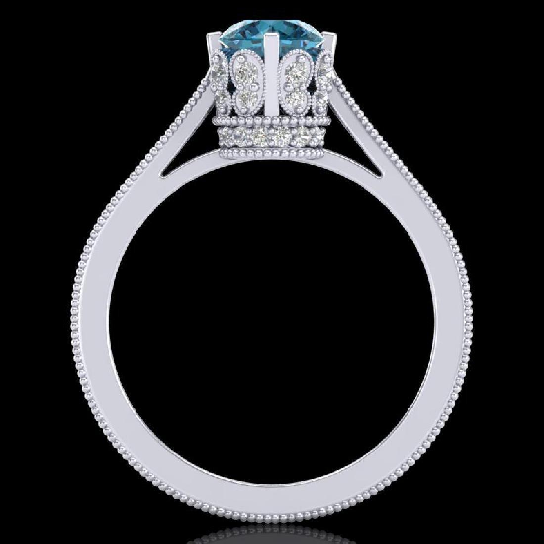 1.14 CTW Fancy Intense Blue Diamond Solitaire Art Deco - 3