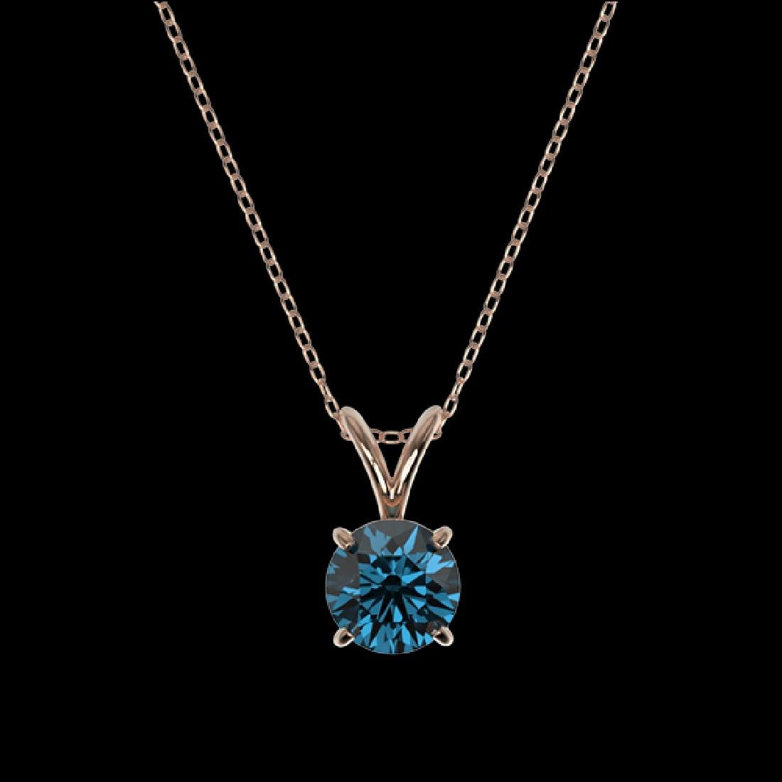 0.78 CTW Certified Intense Blue SI Diamond Solitaire - 3