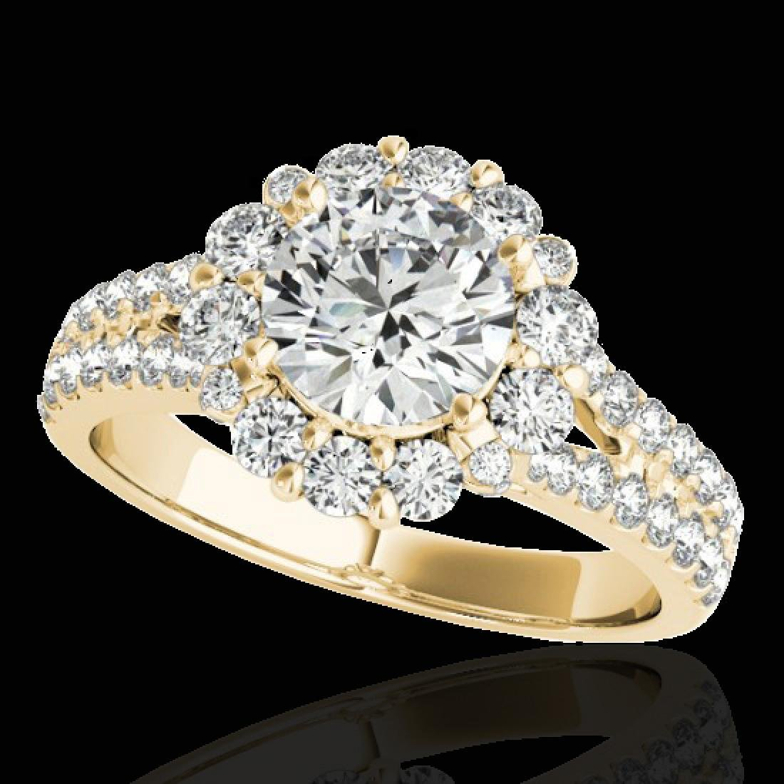 2.01 CTW H-SI/I Certified Diamond Solitaire Halo Ring