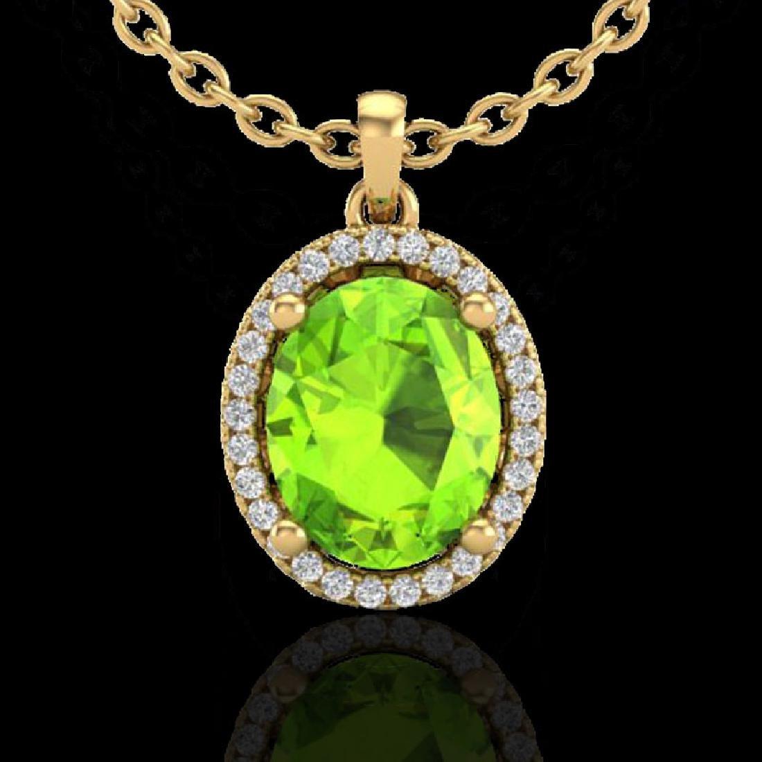 2.50 CTW Peridot & Micro Pave VS/SI Diamond Necklace - 2
